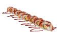 Sushi traditional fresh japanese rolls on a white background Royalty Free Stock Photography
