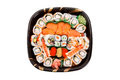 Sushi tray with white background Stock Photos