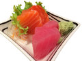 Sushi and tuna sashimi on isolated white background Stock Image