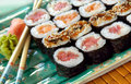 Sushi of Various Varieties Stock Photography