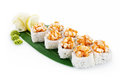 Sushi volcano isolated on white background with delicious ingredients Royalty Free Stock Photos