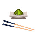 Sushi wasabi food and chopsticks vector illustration.