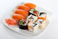 Sushi on white plate japanese Stock Photography