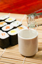 Sushi wine put bamboo mat Royalty Free Stock Images