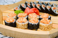 Sushi on wood plate Royalty Free Stock Photo