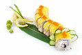 Sushi yellow dragon isolated on white background with delicious ingredients Royalty Free Stock Photography