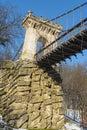 Suspended bridge from nicolae romanescu park craiova romania Stock Photos