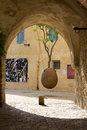 Suspended orange tree in Jaffa Stock Image