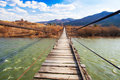 Suspended wooden bridge Royalty Free Stock Photo