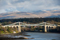 Suspension bridge across the menai strait near bangor wales Stock Image