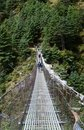 Suspension bridge en route to Everest, Himalaya Royalty Free Stock Photos