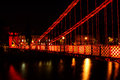 Suspension bridge glasgow scotland uk south portland street at night river clyde Stock Image