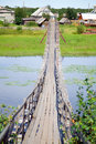 Suspension bridge over the rive Royalty Free Stock Image