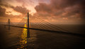 Suspension bridge on sunset Royalty Free Stock Photography