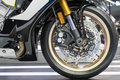 Suspension and disc brake system of modern motorcycle's front wheel Royalty Free Stock Photo