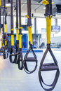 Suspension training suspention straps in fitness studio Stock Images