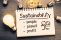 Sustainability concept as memo on notebook with light bulbs Royalty Free Stock Photo