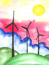 Sustainability windmills watercolor sustainable on green hillside with clouds and pink sky painting Royalty Free Stock Photography