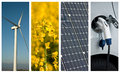 Sustainable development collage and renewable energy Royalty Free Stock Photo