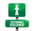 Sustainable development road sign illustration design over white Royalty Free Stock Images