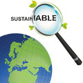 Sustainable earth looking from a magnifying glass globe looked at through the lens of sustainability Stock Photos