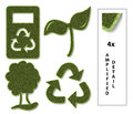 Sustainable icons set of flat with grass texture Stock Image