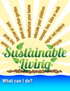 Sustainable living solutions ideas and words with green leaves and sun rays and water Royalty Free Stock Photo