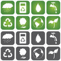 Sustainalble icon set of sustainable icons in two different background colors green and grey flat design with rounded corners Royalty Free Stock Images