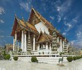Sutat temple wat suthat thepphawararam with blue sky background in bangkok of thailand Stock Image