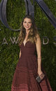 Sutton foster at tony awards double winning actress wearing an ombre tiered dress by naem khan arrives on the red carpet for the Royalty Free Stock Photography