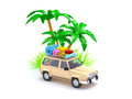 Suv adventure with palm d red on a beach Stock Images