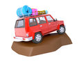 Suv adventure with rock d red roof rack on Royalty Free Stock Photography