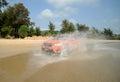 Suv on the beach Royalty Free Stock Photo