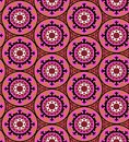 Suzani pattern ethnic in bright color with stylized flowers leaves and circular shapes with kazakh turkish uzbek motifs seamless Stock Photo