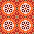 Suzani vector pattern with bold ornament seamless ethnic uzbek turkish and kazakh motifs in bright vibrant colors texture for web Royalty Free Stock Image