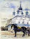 Suzdal watercolor Stock Image