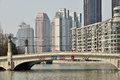 Suzhou creek on march in shanghai china or soochow also called wusong river is a river that passes through the Royalty Free Stock Photo