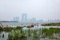 Suzhou Jinji Lake City Sculpture --- Flamingo Royalty Free Stock Photo