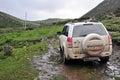 Suzuki grand vitara mountain journey Imagem de Stock Royalty Free