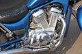 Suzuki intruder motorbike photo of chopper showing chromed engine area Royalty Free Stock Images