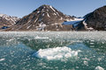 Svalbard spitzbergen glacier view with small iceberg on sunny day Stock Image
