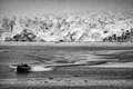 Svalbard spitzbergen island glacier view zodiac near landscape panorama in black and white Royalty Free Stock Image