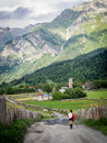 Svaneti adishi village in upper georgia caucasus the region is known for its medieval defensive towers Stock Photos