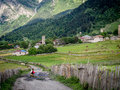 Svaneti adishi village in upper georgia caucasus the region is known for its medieval defensive towers Stock Images