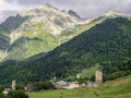Svaneti adishi village in upper georgia caucasus the region is known for its medieval defensive towers Royalty Free Stock Image