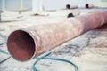 Svarnoy longitudinal welded in trub trub of construction site a Royalty Free Stock Photo