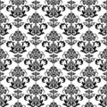 Svart blom- seamless wallpaperwhite Royaltyfria Bilder