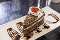 Svarta forest chocolate cake slice closeup Arkivbild