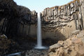 Svartifoss basalt column waterfall this is a in skaftafell national park in iceland the water is falling from the tops of columns Royalty Free Stock Photo