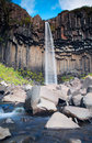 Svartifoss waterfall and basalt columns in the national park of vatnajokull iceland Royalty Free Stock Photos